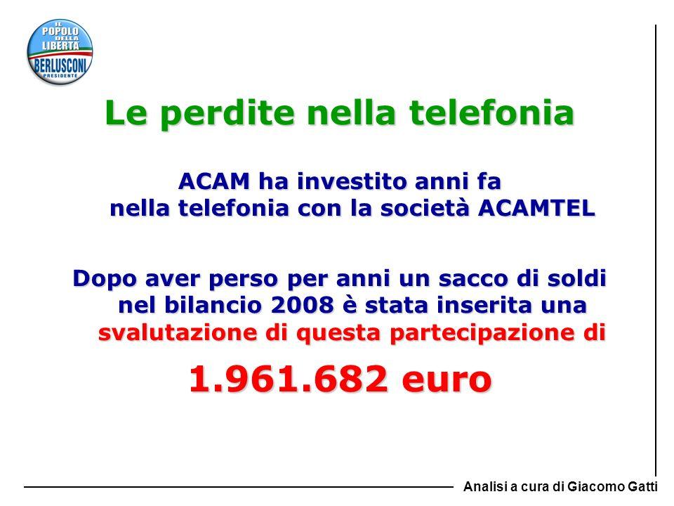ACAM ha investito anni fa nella telefonia con la società ACAMTEL