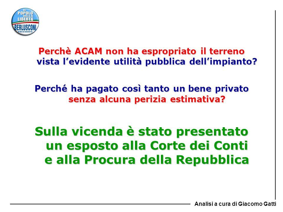 Perchè ACAM non ha espropriato il terreno vista l'evidente utilità pubblica dell'impianto