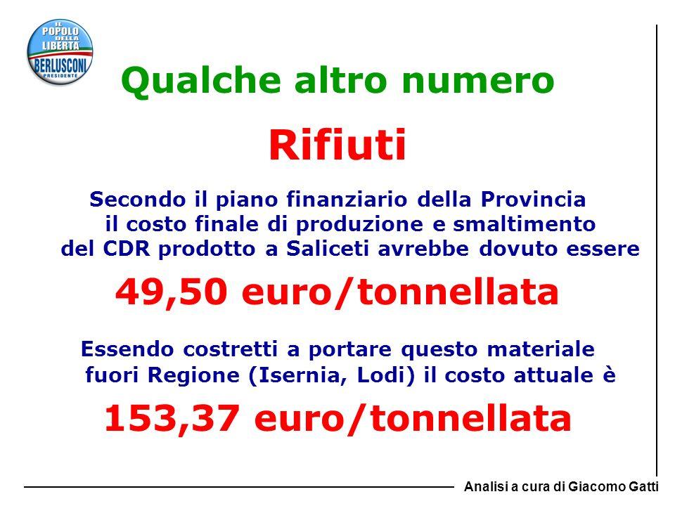 Rifiuti Qualche altro numero 49,50 euro/tonnellata