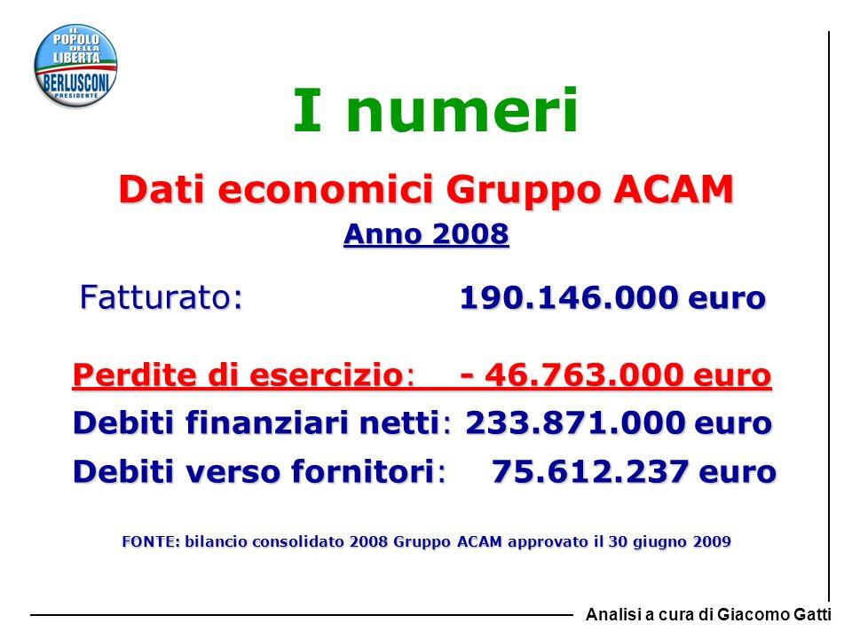 Dati economici Gruppo ACAM Anno 2008