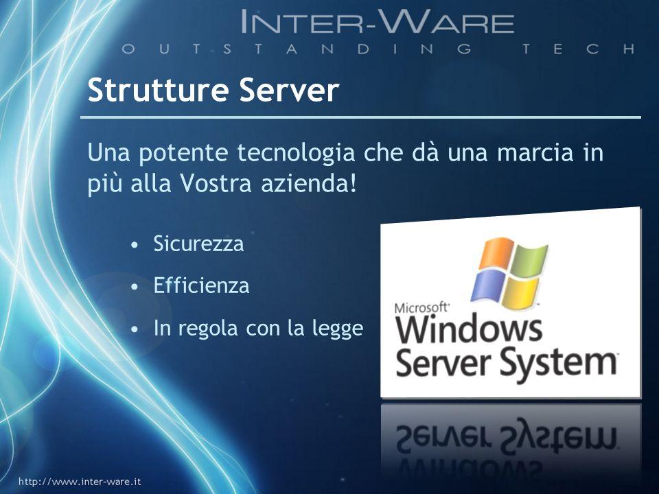 Strutture ServerUna potente tecnologia che dà una marcia in più alla Vostra azienda! Sicurezza. Efficienza.