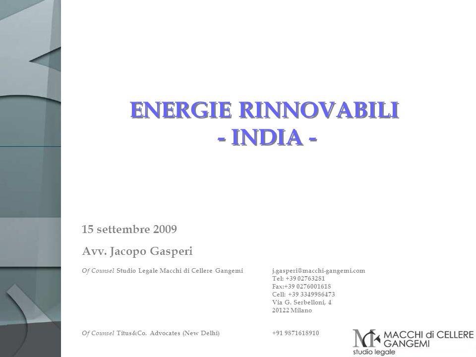 ENERGIE RINNOVABILI - INDIA -
