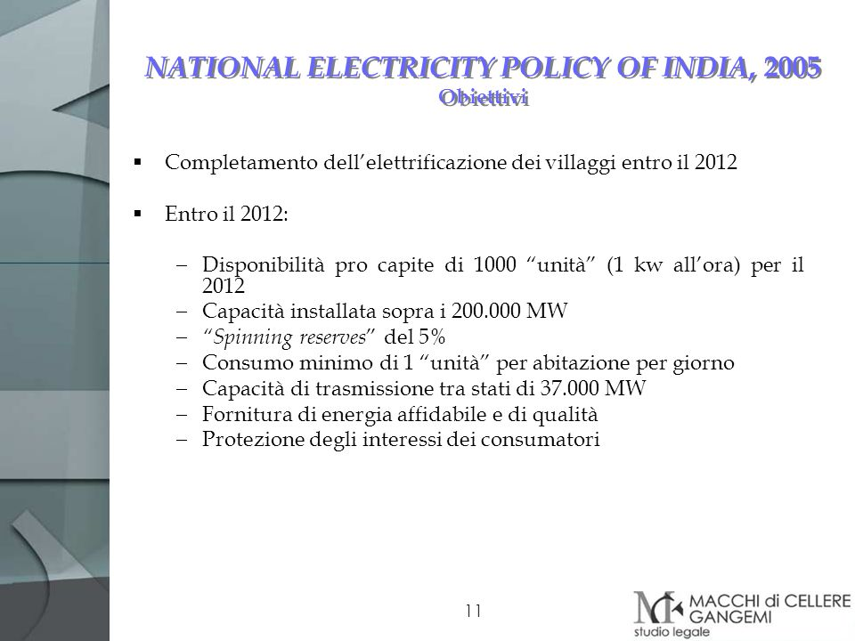 NATIONAL ELECTRICITY POLICY OF INDIA, 2005 Obiettivi