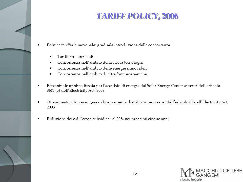 TARIFF POLICY, 2006 Politica tariffaria nazionale: graduale introduzione della concorrenza. Tariffe preferenziali.