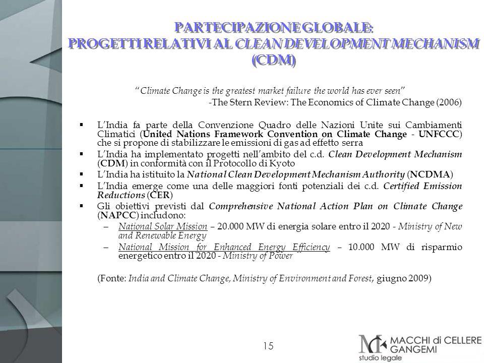 PARTECIPAZIONE GLOBALE: PROGETTI RELATIVI AL CLEAN DEVELOPMENT MECHANISM (CDM)