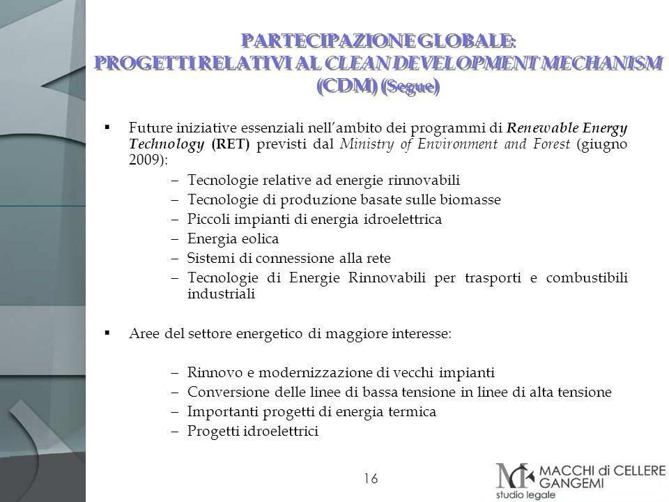 PARTECIPAZIONE GLOBALE: PROGETTI RELATIVI AL CLEAN DEVELOPMENT MECHANISM (CDM) (Segue)