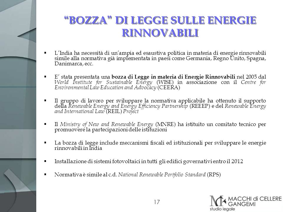 BOZZA DI LEGGE SULLE ENERGIE RINNOVABILI