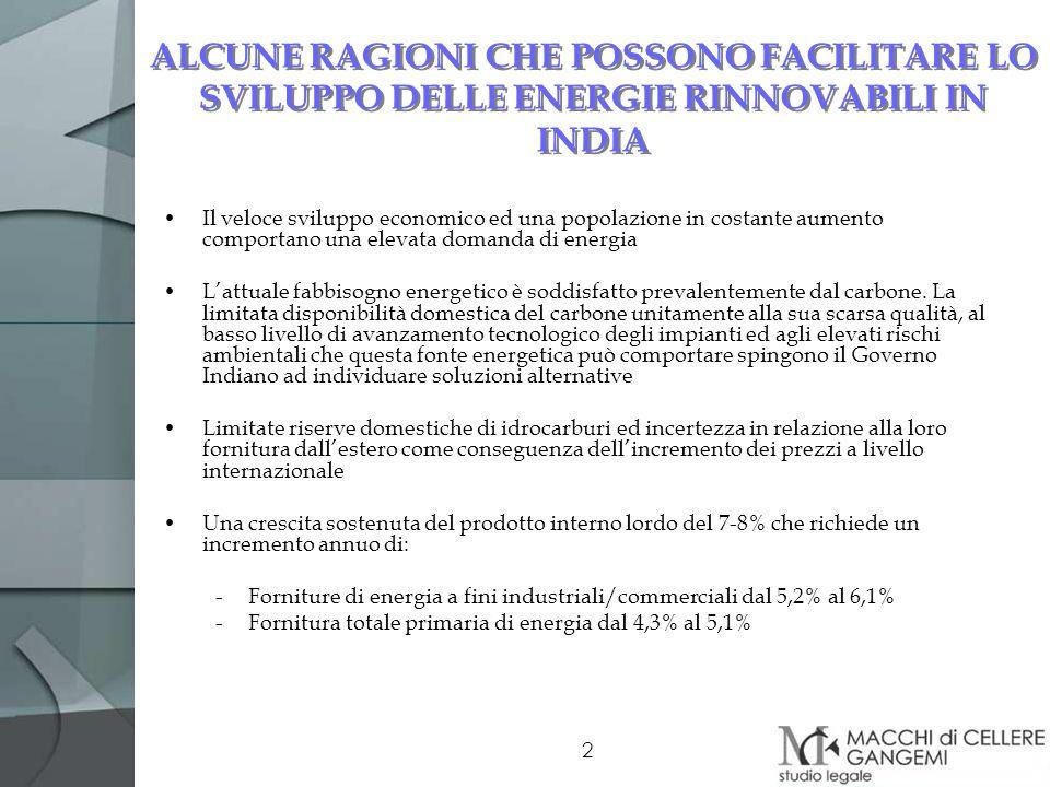 ALCUNE RAGIONI CHE POSSONO FACILITARE LO SVILUPPO DELLE ENERGIE RINNOVABILI IN INDIA