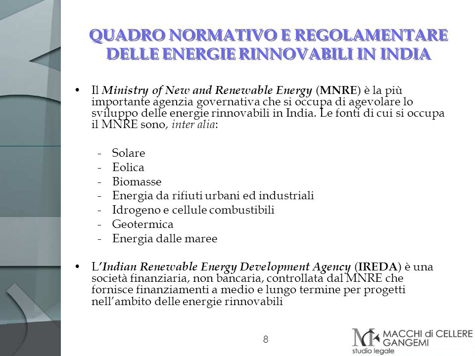 QUADRO NORMATIVO E REGOLAMENTARE DELLE ENERGIE RINNOVABILI IN INDIA