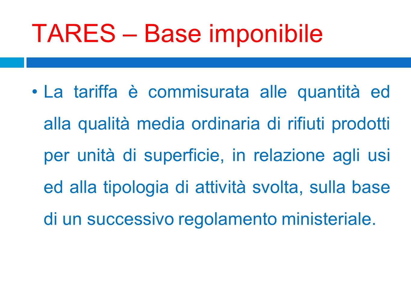 TARES – Base imponibile