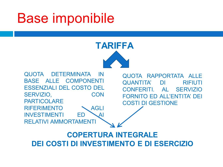 DEI COSTI DI INVESTIMENTO E DI ESERCIZIO