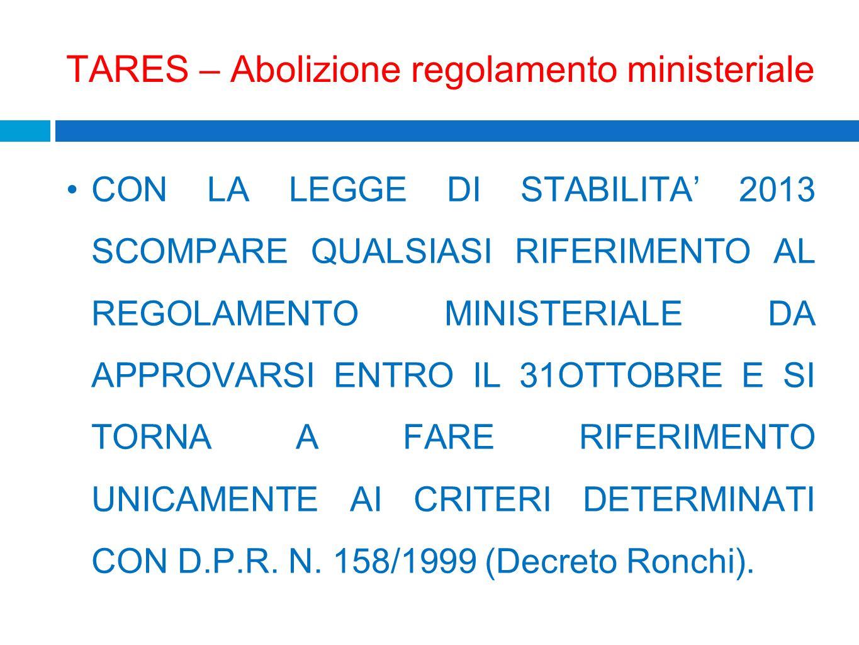 TARES – Abolizione regolamento ministeriale