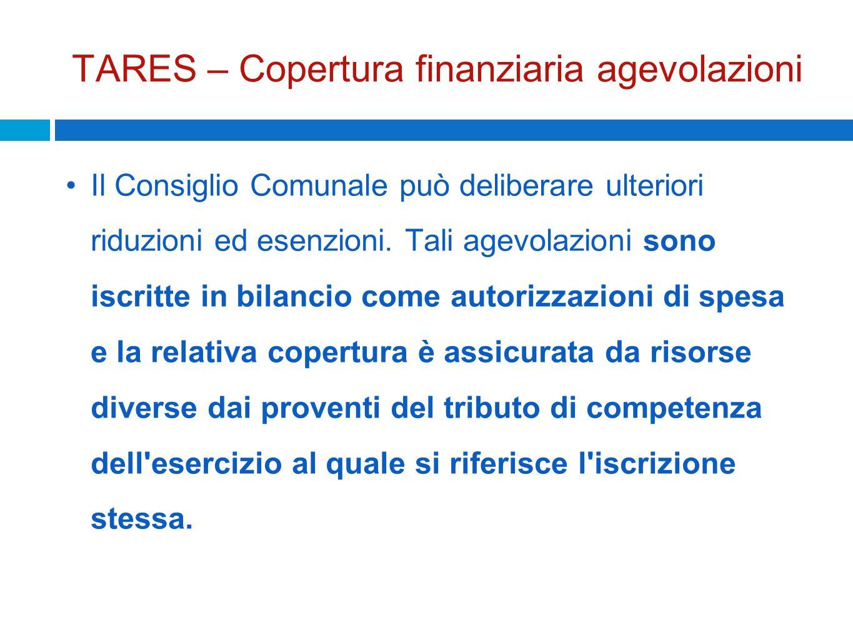 TARES – Copertura finanziaria agevolazioni