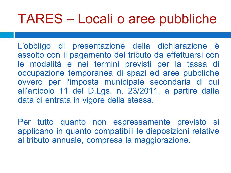 TARES – Locali o aree pubbliche