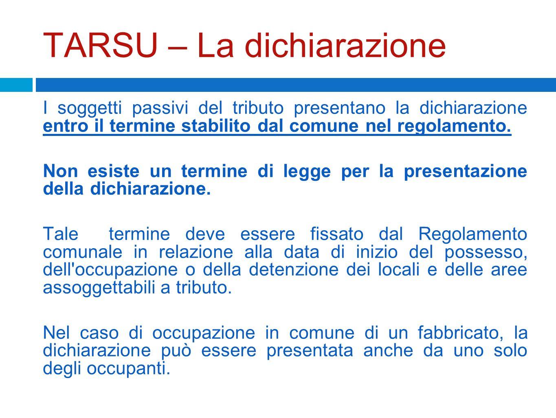 TARSU – La dichiarazione