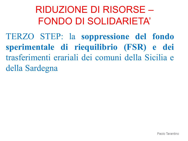 RIDUZIONE DI RISORSE – FONDO DI SOLIDARIETA'