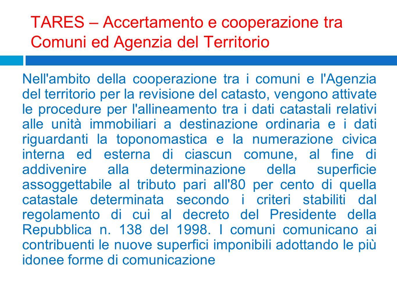 TARES – Accertamento e cooperazione tra Comuni ed Agenzia del Territorio