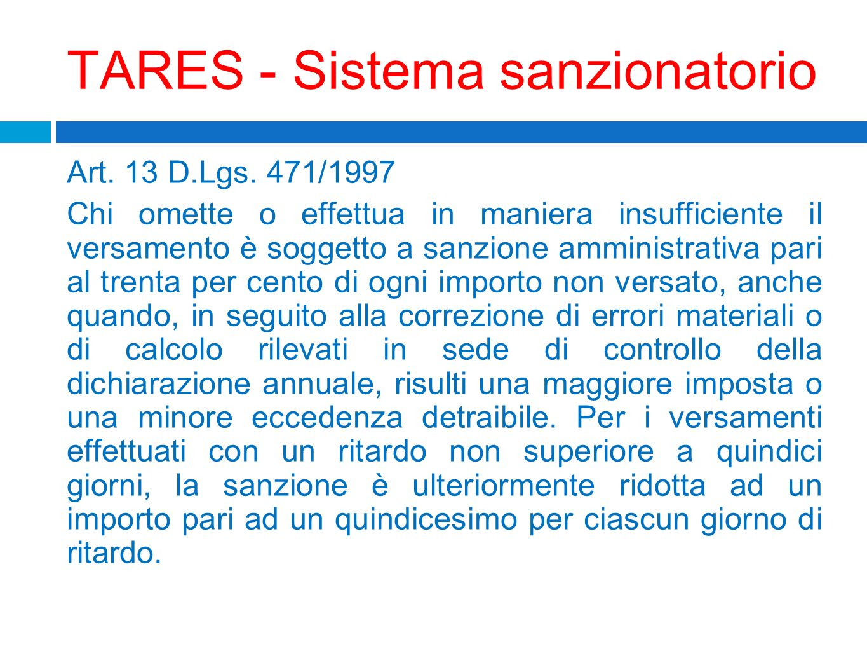 TARES - Sistema sanzionatorio