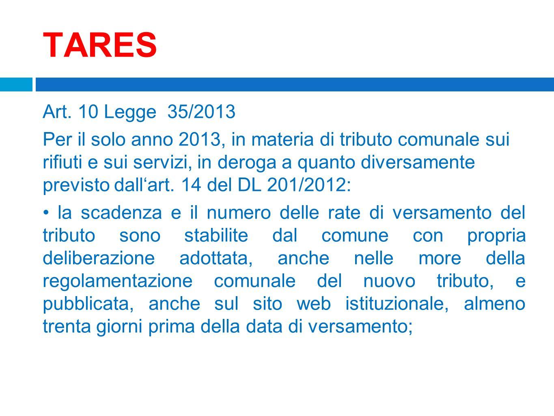 TARES Art. 10 Legge 35/2013.