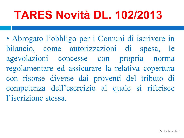 TARES Novità DL. 102/2013