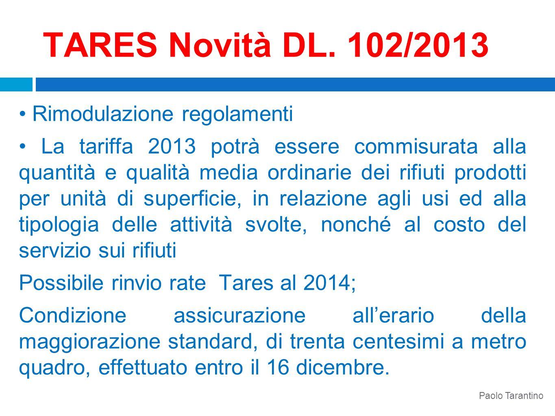 TARES Novità DL. 102/2013 • Rimodulazione regolamenti