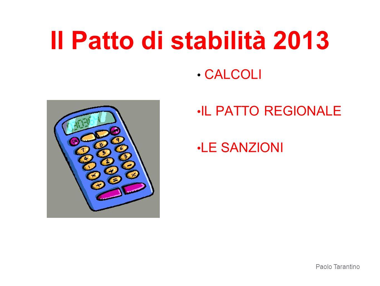 Il Patto di stabilità 2013 CALCOLI IL PATTO REGIONALE LE SANZIONI