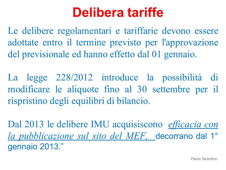 Delibera tariffe