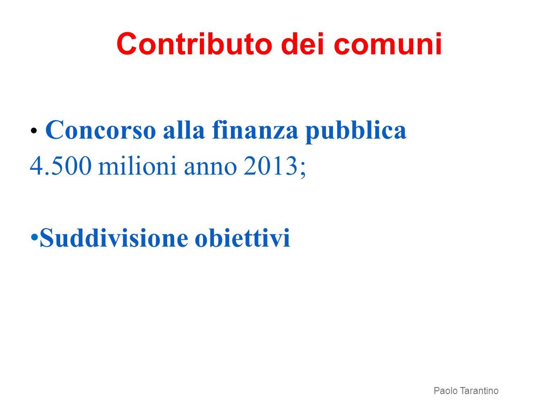 Contributo dei comuni Concorso alla finanza pubblica