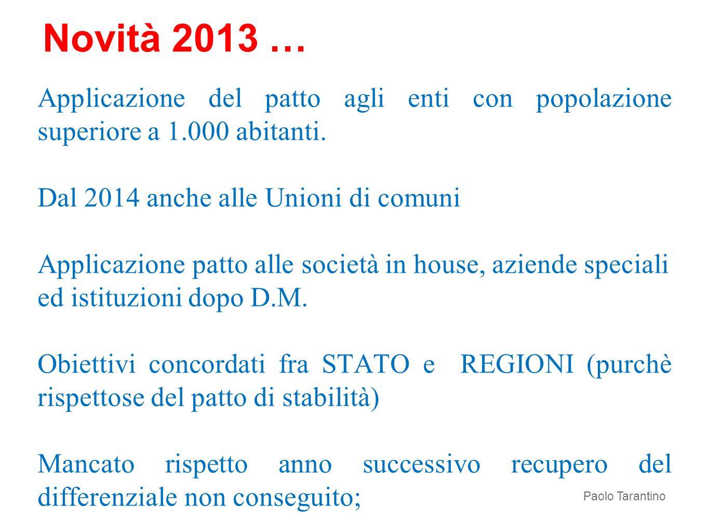 Novità 2013 … Applicazione del patto agli enti con popolazione superiore a 1.000 abitanti. Dal 2014 anche alle Unioni di comuni.
