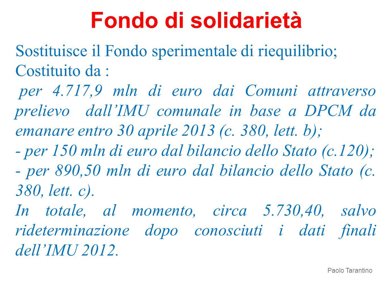 Fondo di solidarietà Sostituisce il Fondo sperimentale di riequilibrio; Costituito da :