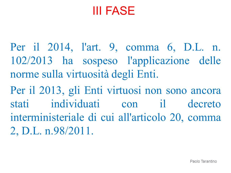 III FASE Per il 2014, l art. 9, comma 6, D.L. n. 102/2013 ha sospeso l applicazione delle norme sulla virtuosità degli Enti.