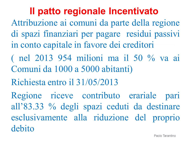 Il patto regionale Incentivato