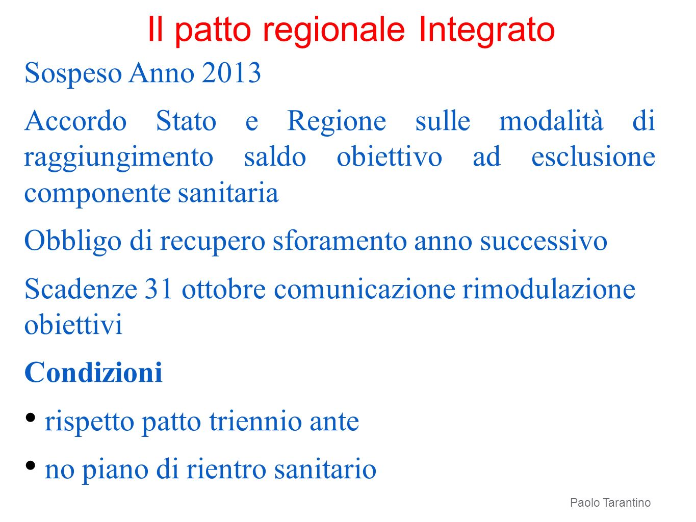 Il patto regionale Integrato