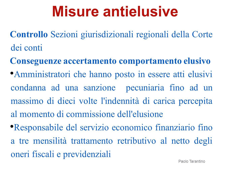 Misure antielusive Controllo Sezioni giurisdizionali regionali della Corte dei conti. Conseguenze accertamento comportamento elusivo.