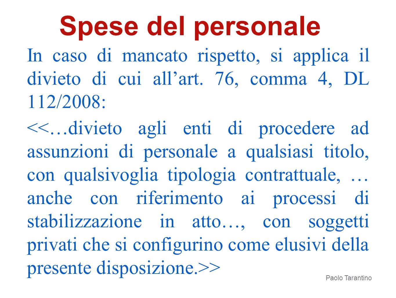 Spese del personale In caso di mancato rispetto, si applica il divieto di cui all'art. 76, comma 4, DL 112/2008: