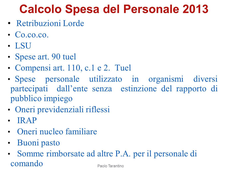 Calcolo Spesa del Personale 2013
