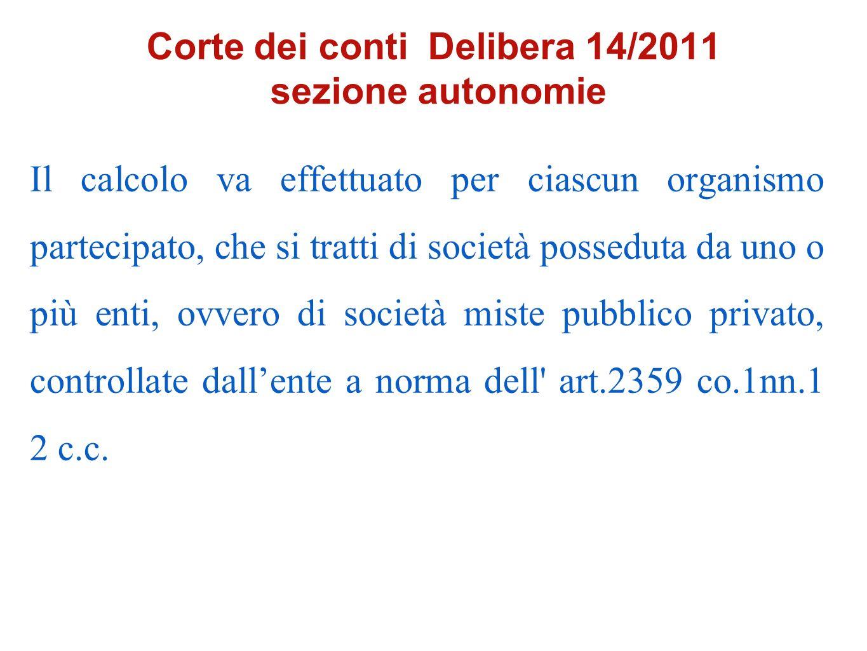 Corte dei conti Delibera 14/2011 sezione autonomie
