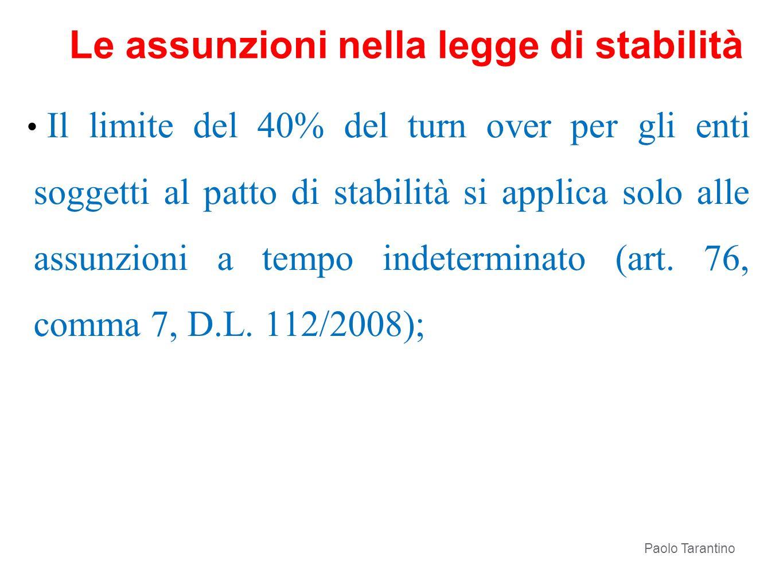 Le assunzioni nella legge di stabilità