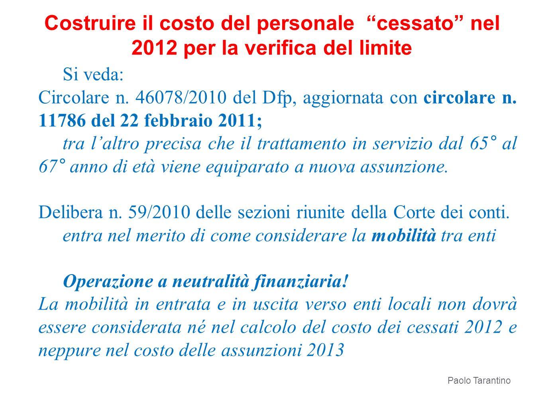 Costruire il costo del personale cessato nel 2012 per la verifica del limite