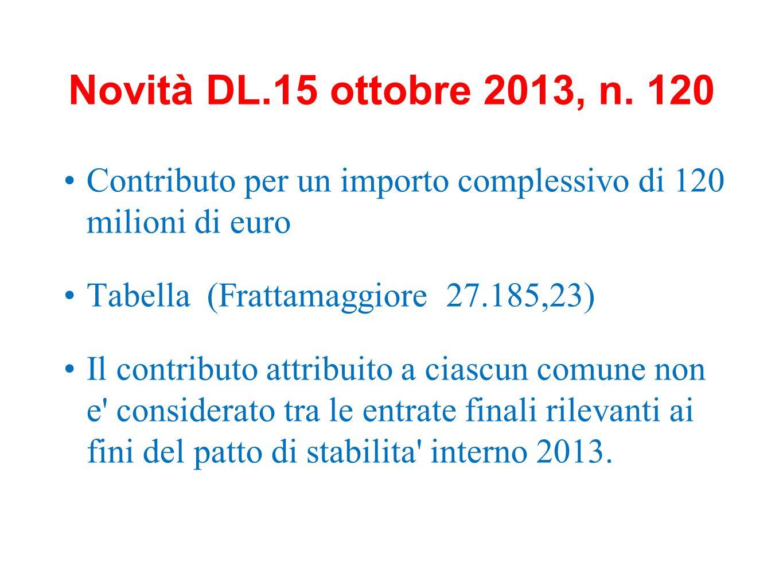 Novità DL.15 ottobre 2013, n. 120 Contributo per un importo complessivo di 120 milioni di euro. Tabella (Frattamaggiore 27.185,23)