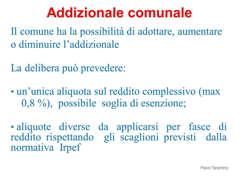 Addizionale comunale Il comune ha la possibilità di adottare, aumentare o diminuire l'addizionale.
