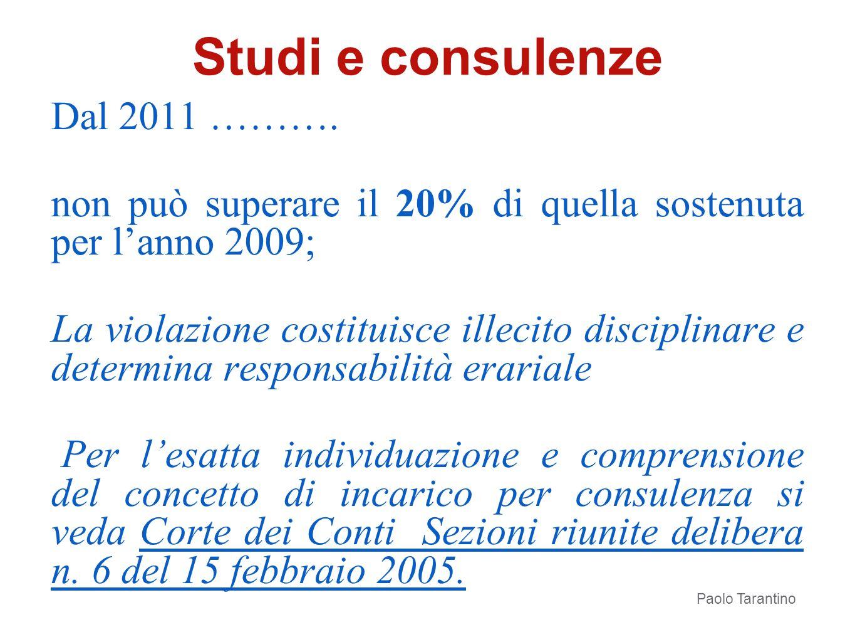 Studi e consulenze Dal 2011 ……….