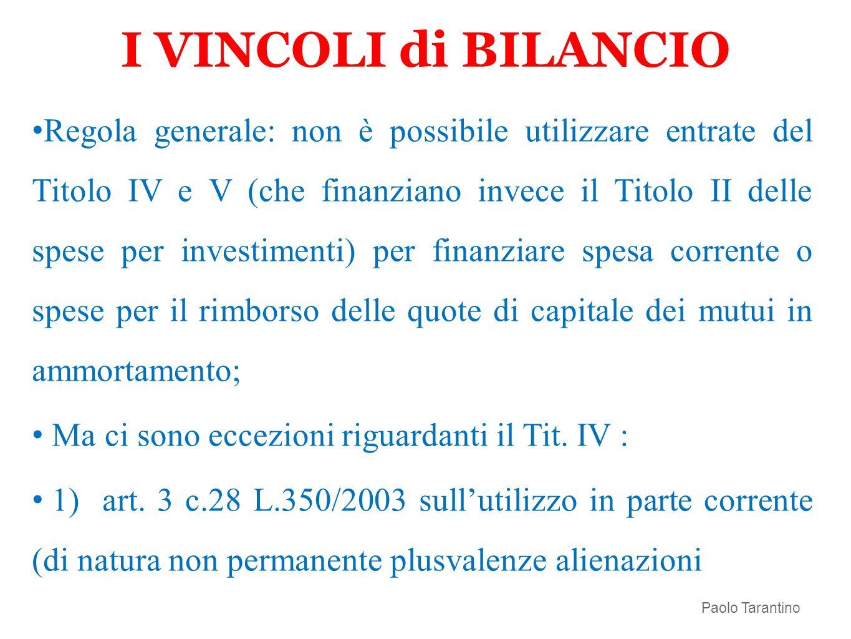 I VINCOLI di BILANCIO