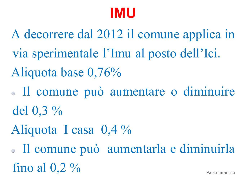 IMU A decorrere dal 2012 il comune applica in via sperimentale l'Imu al posto dell'Ici. Aliquota base 0,76%