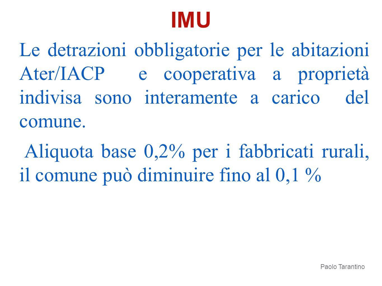 IMU Le detrazioni obbligatorie per le abitazioni Ater/IACP e cooperativa a proprietà indivisa sono interamente a carico del comune.