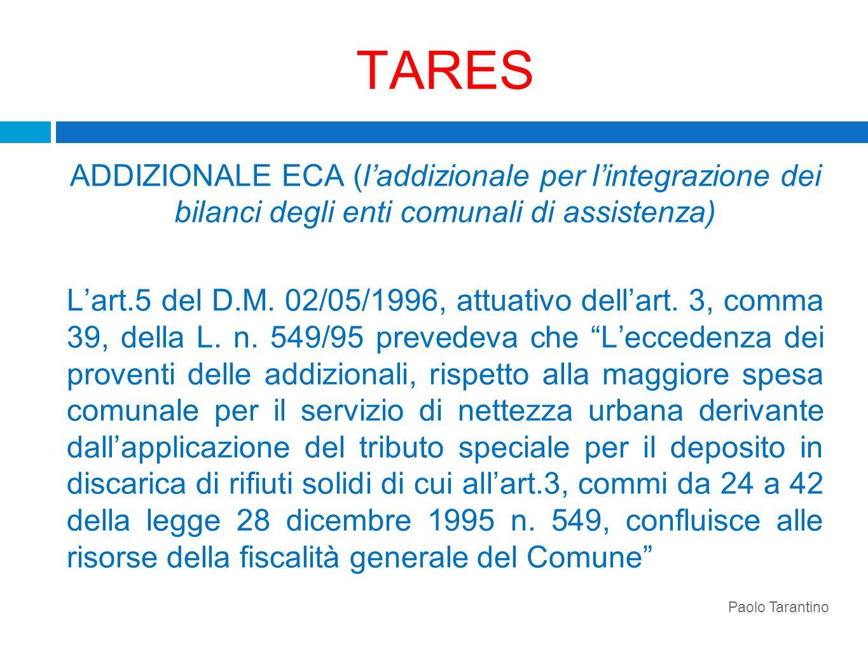 TARES ADDIZIONALE ECA (l'addizionale per l'integrazione dei bilanci degli enti comunali di assistenza)