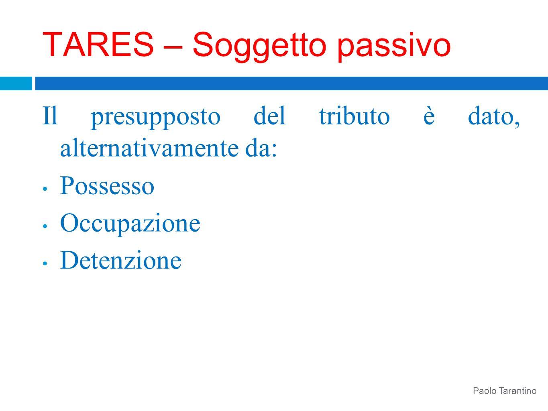 TARES – Soggetto passivo