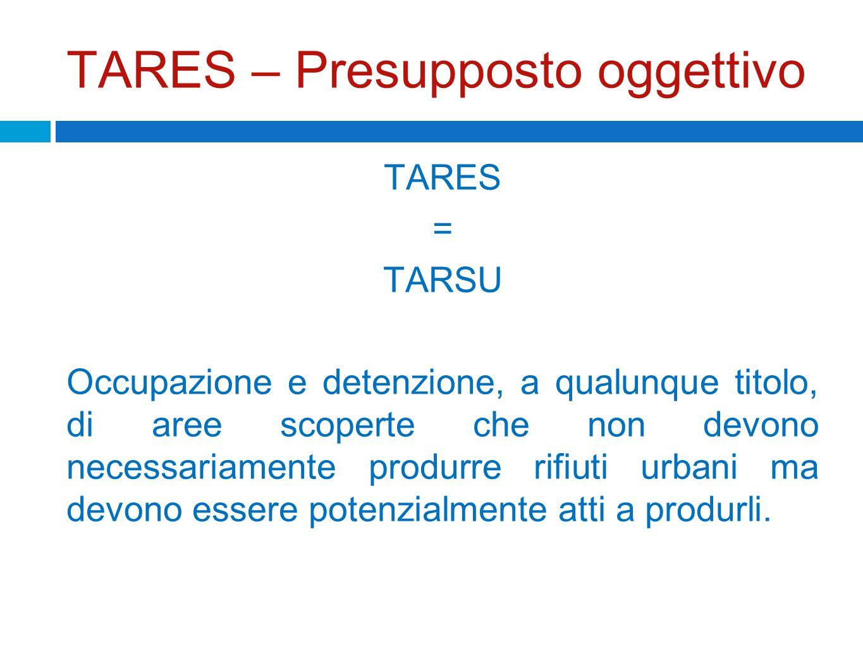 TARES – Presupposto oggettivo