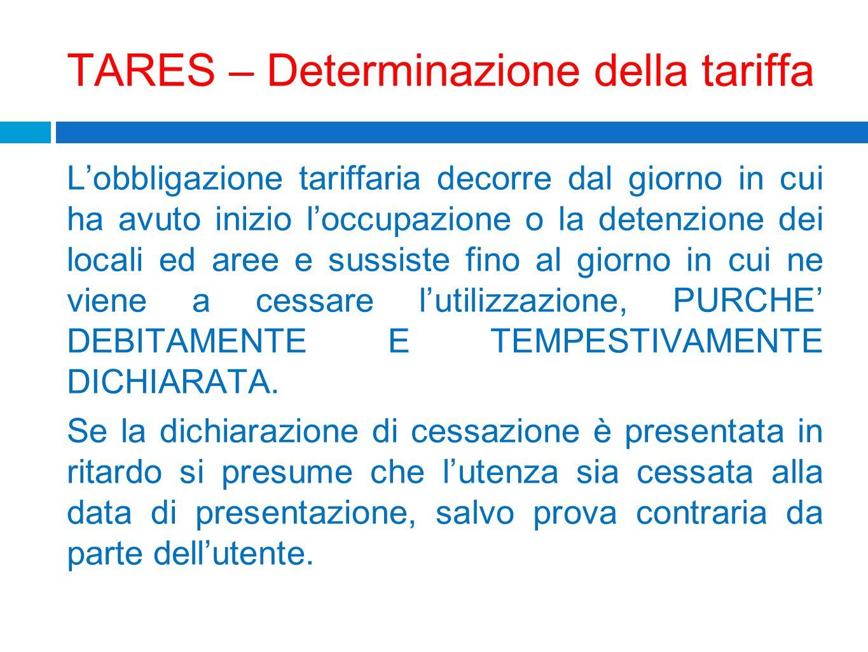 TARES – Determinazione della tariffa