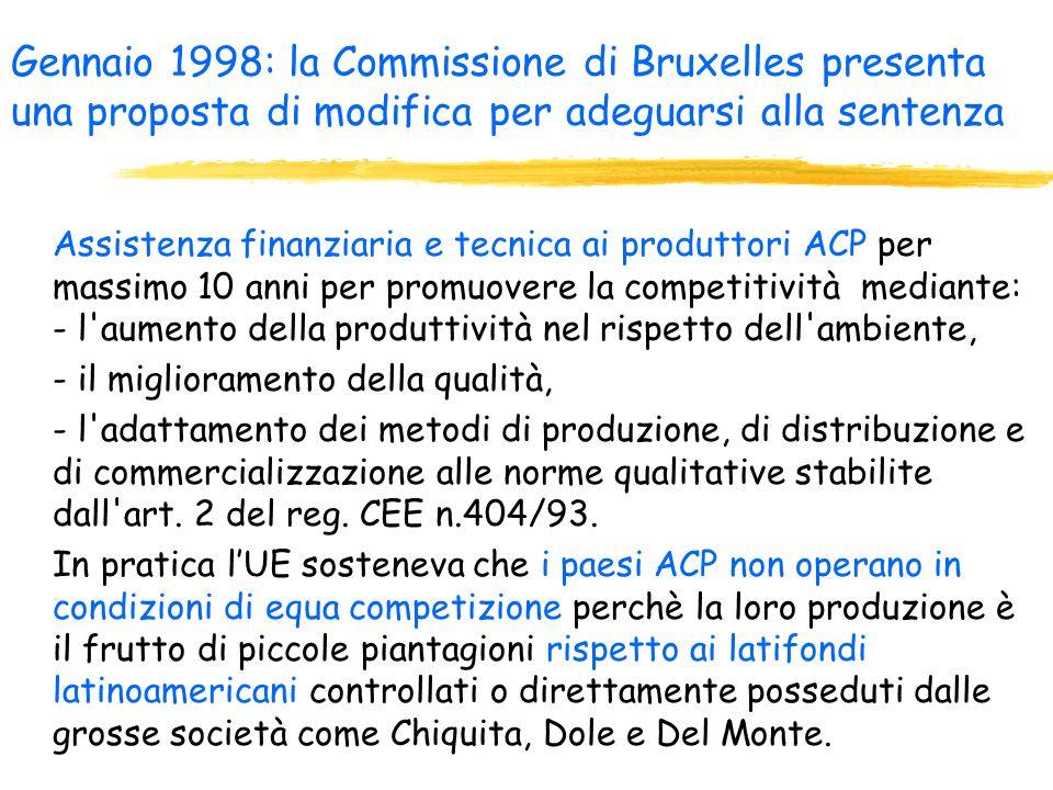Gennaio 1998: la Commissione di Bruxelles presenta una proposta di modifica per adeguarsi alla sentenza